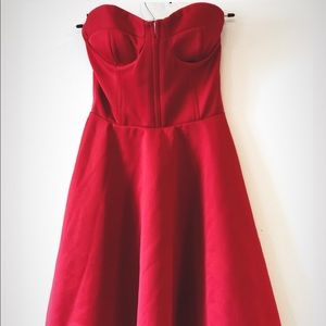Red Corset Style Sweetheart Dress